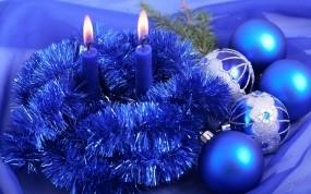 Обои Новый год в синих тонах: Свечи, Новый год, Игрушки, Новый год