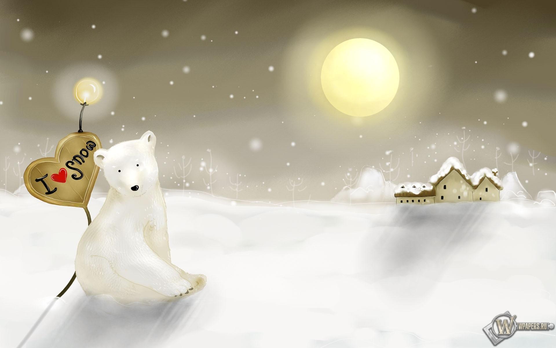 Белый медведь с сердцем 1920x1200