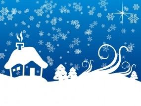 Обои Зима в деревне: Снежинки, Синий, Новый год, Дом, Новый год
