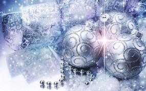 Обои Серебристые шары: Шарики, Праздник, Украшения, блестки, Новый год