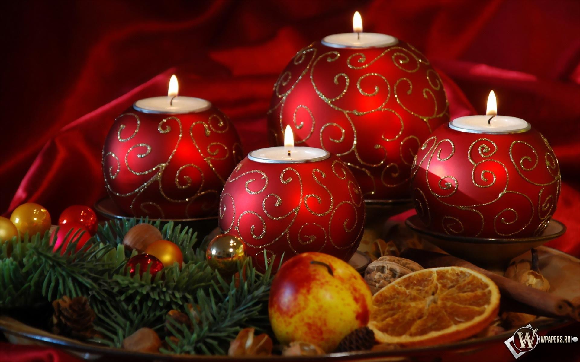 Новогодние свечи 1920x1200