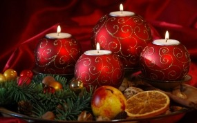 Обои Новогодние свечи: Свечи, Новый год, Фрукт, Новый год