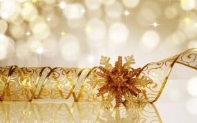 Обои Золотая снежинка: Новый год, Снежинка, Новый год