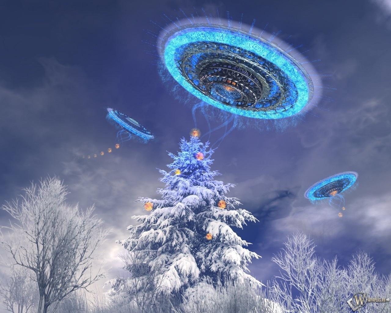 НЛО украшают ёлку 1280x1024