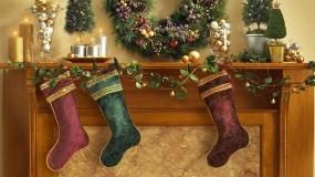 Обои Рождественские носки: Камин, Рождество, Праздник, Носки, Новый год