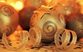 Обои Золотой Новый год: Новый год, Шары, Праздник, Новый год