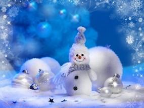 Обои Снеговик: Зима, Шарики, Праздник, Игрушки, Снеговик, Новый год
