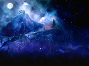 Обои Новый год в горах: Лес, Ночь, Новый год, Елка, Новый год