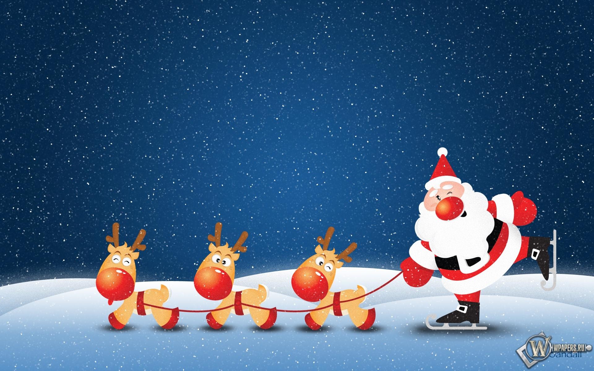 Санта с оленями 1920x1200