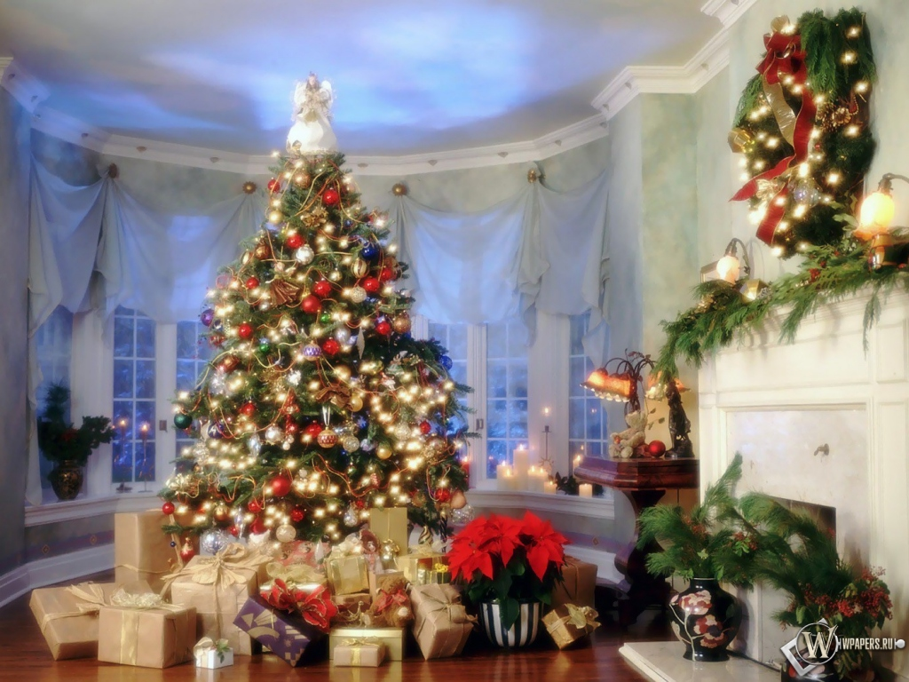 Новый год дом елка подарки 1024x768