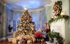 Обои Елка в доме: Новый год, Дом, Елка, Подарки, Новый год