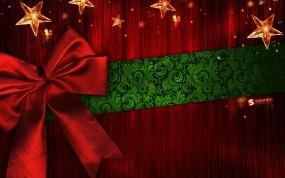 Обои Подарок: Новый год, Красный, Бант, Подарок, Новый год