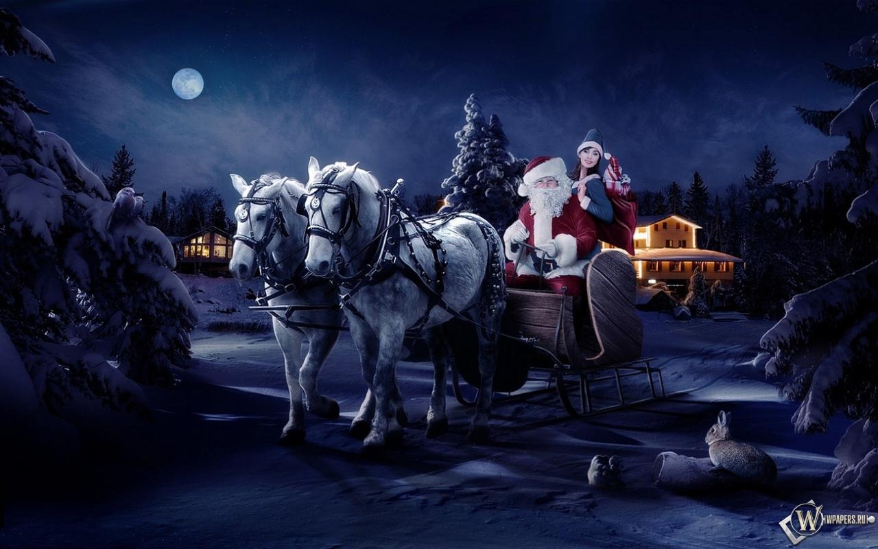 Дед мороз со снегурочкой 1280x800