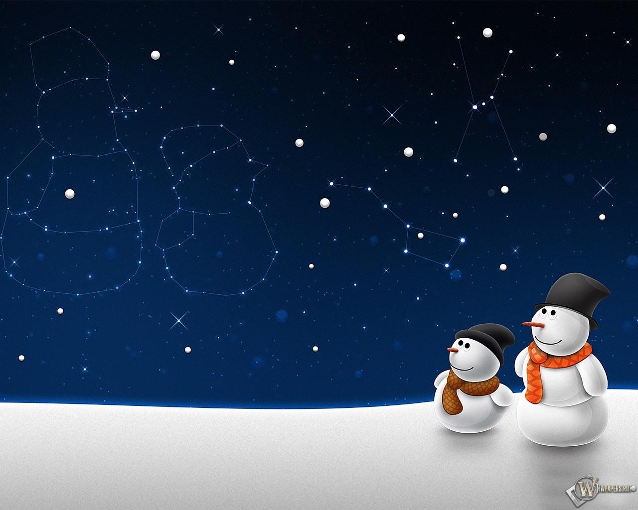 Снеговики 1280x1024
