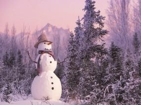 Обои Снеговик: Новый год, Ели, Снеговик, Новый год