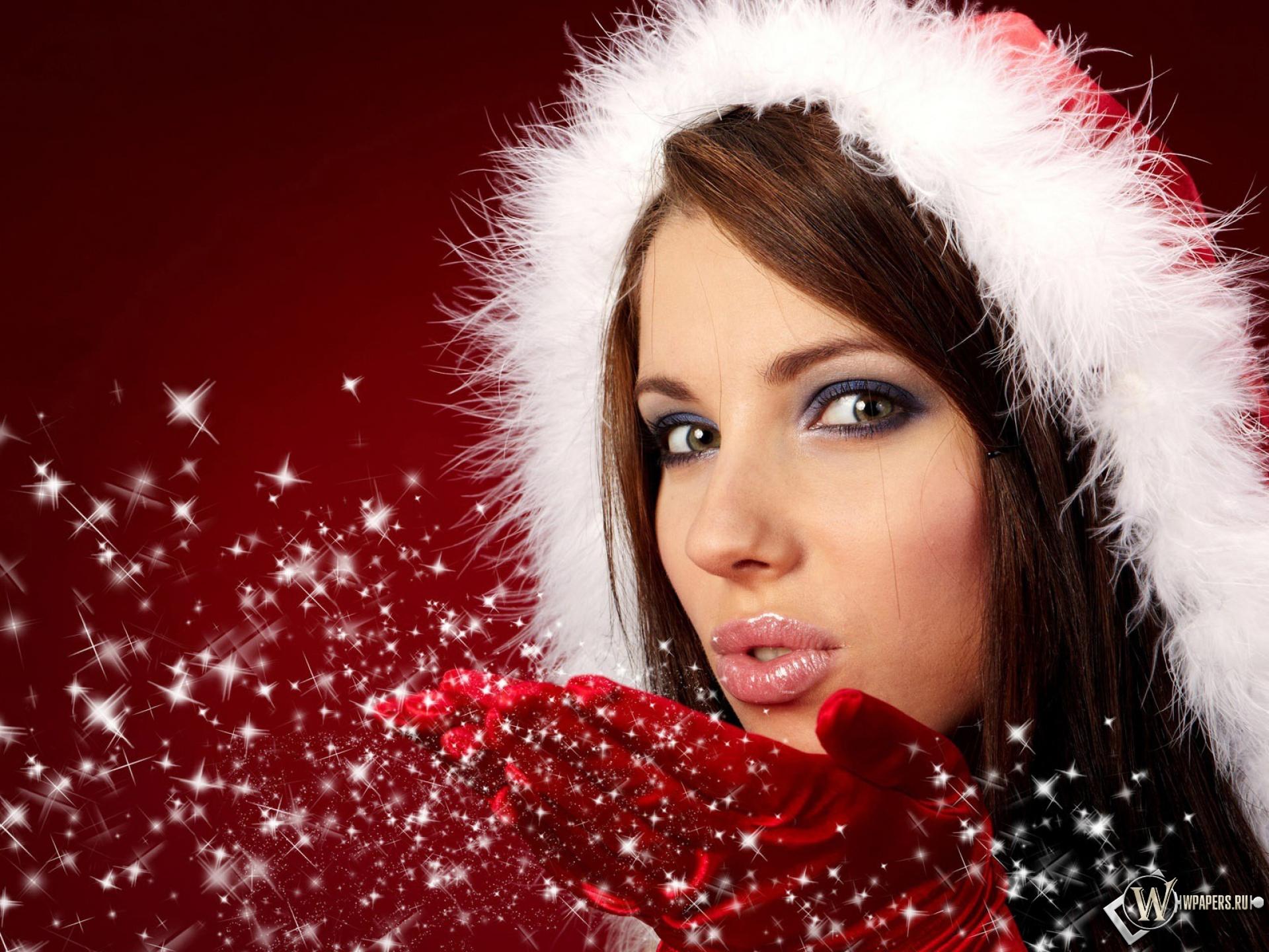 Обои, Christmas Girl, Девушка, Снегурочка, Рождество, Праздник