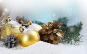 Обои Новогодние украшения: Новый год, Шарики, Рождество, Праздник, Шишки, Новый год