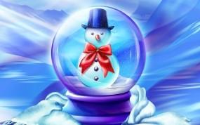 Обои Снеговик в шарике: Зима, Снег, Новый год, Рождество, Снеговик, Детство, Сказка, Новый год