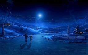 Обои Новогодняя ночь: Зима, Каток, Синева, Новый год