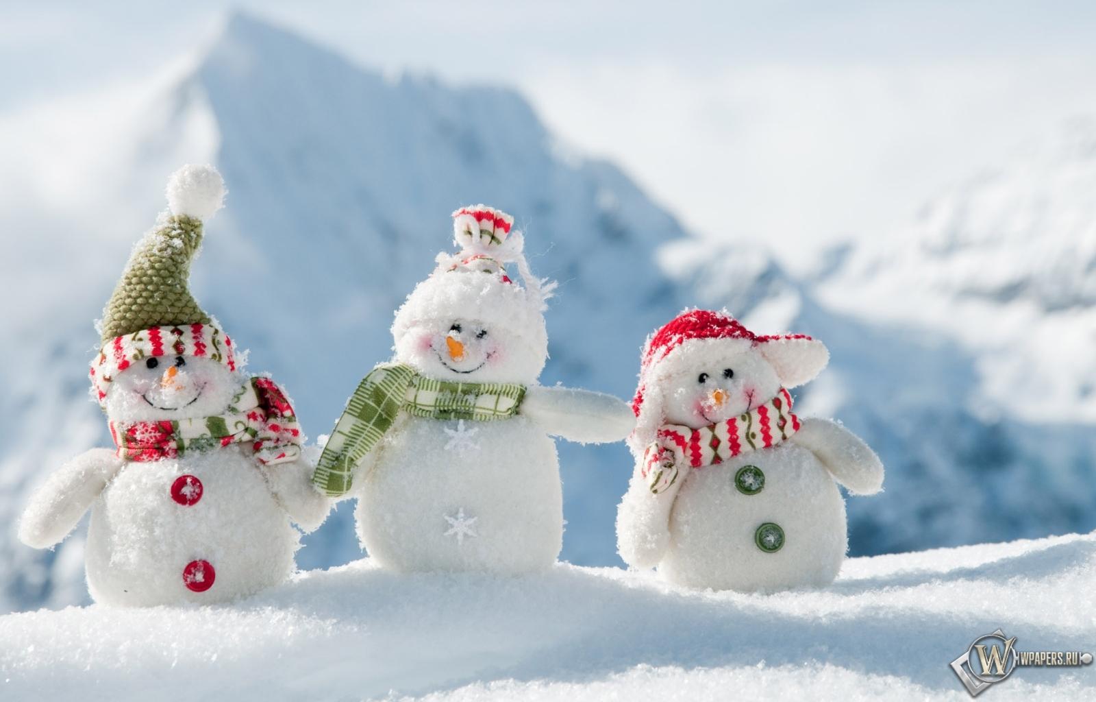 Обои забавные снеговики горы снег
