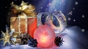 Обои Новогодняя ночь: Снег, Снежинки, Новый год, Подарок, Новый год