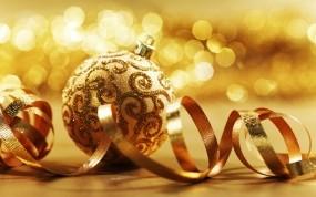 Обои Золотой шарик: Шарик, Новый год, Ленточка, Золотой, Новый год