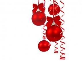 Обои Шарики: Новый год, Шарики, Красный, Серпантин, Мишура, Бантики, Новый год