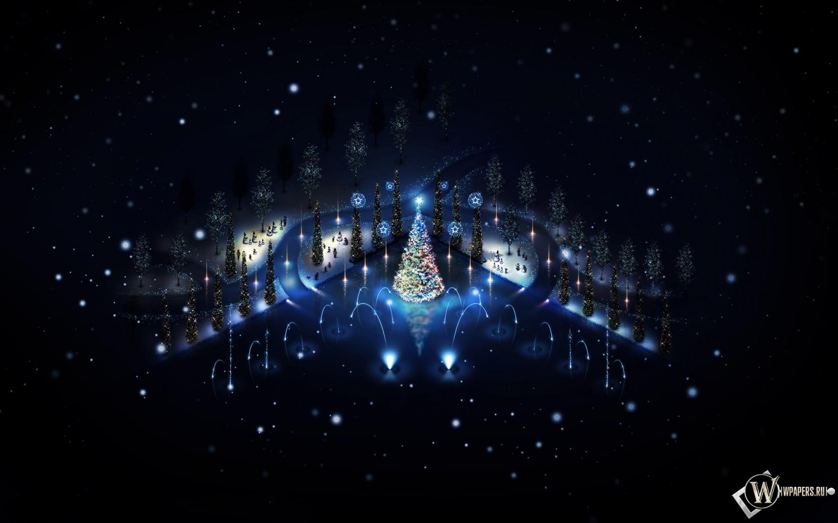 Обои новый год огни зима ночь новый