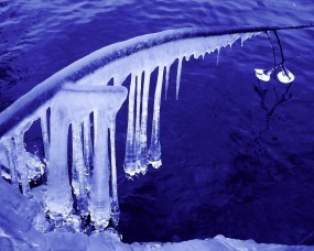 Обои Сосульки над водой: Вода, Лёд, Сосульки, Лёд / Вода