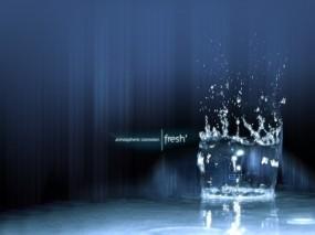 Обои Стакан с водой: Вода, Капли, Брызги, Свежесть, Вода
