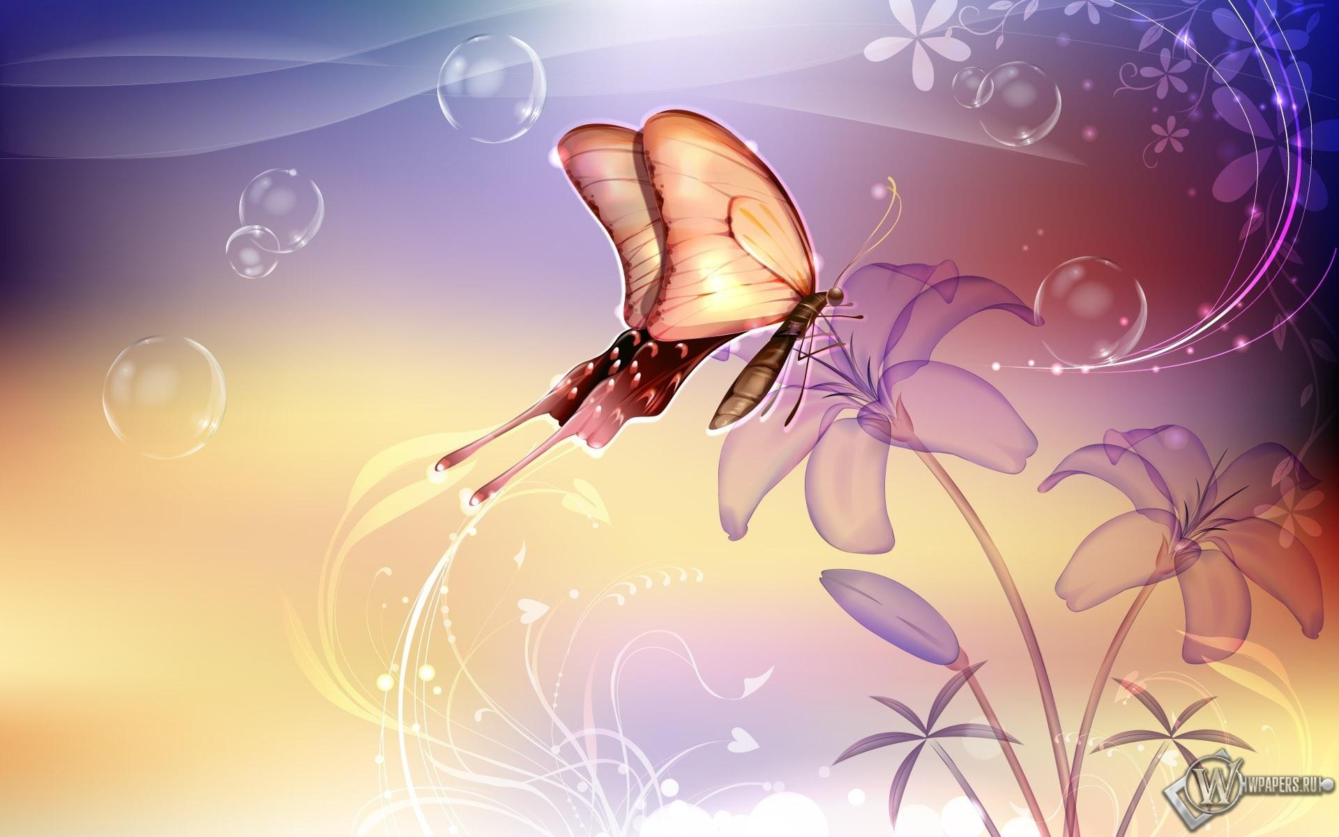 Бабочка на лилии 1920x1200