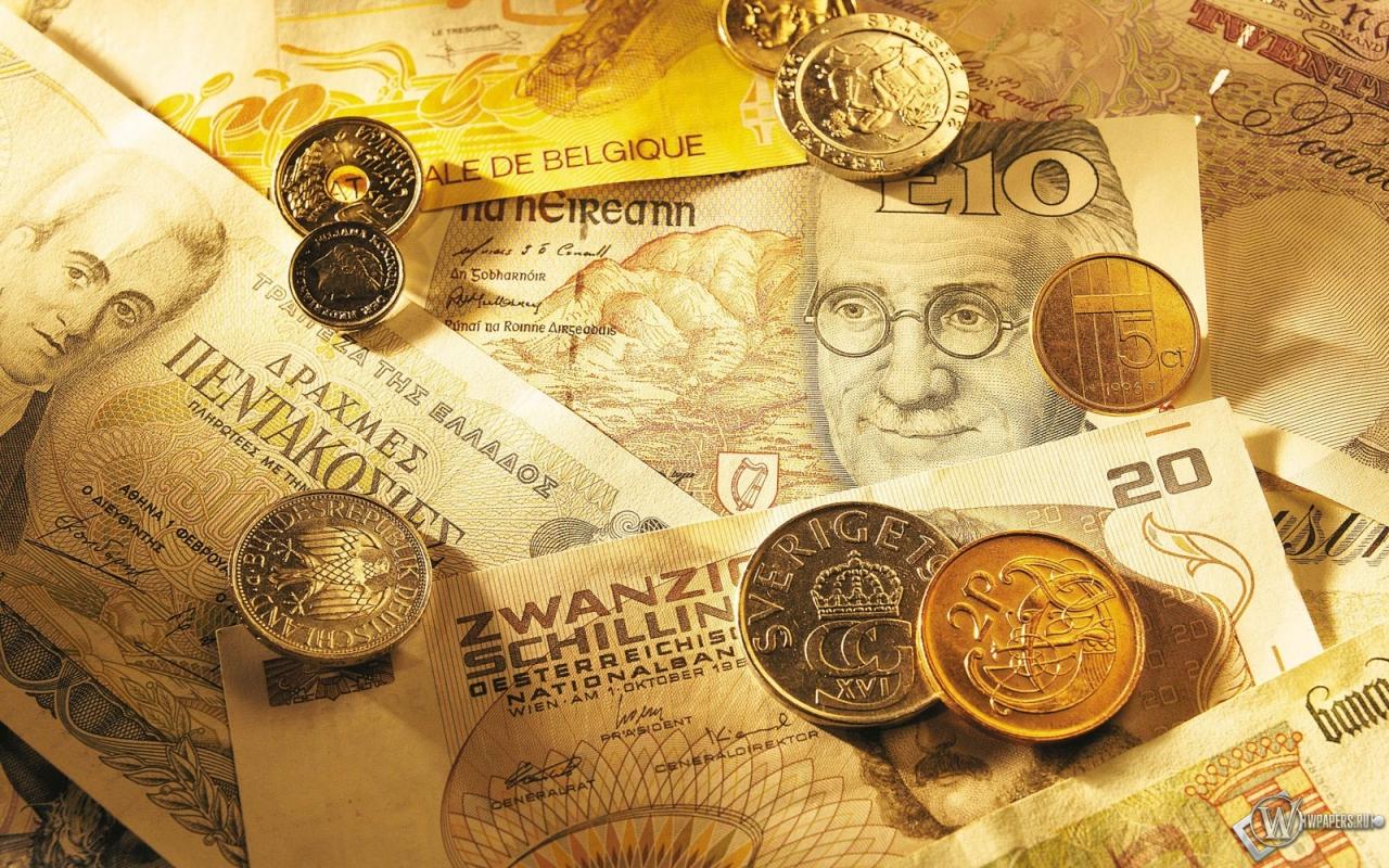 Обои купюры и монеты на рабочий стол с