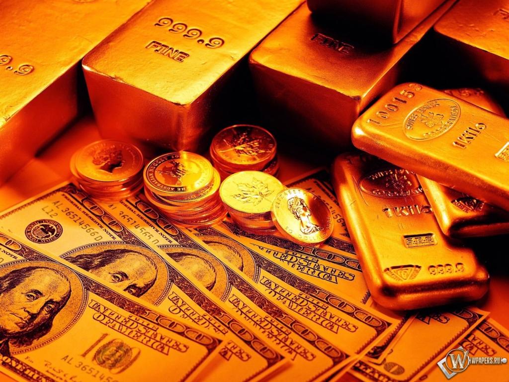 Слитки монеты и бумажные деньги 1024x768