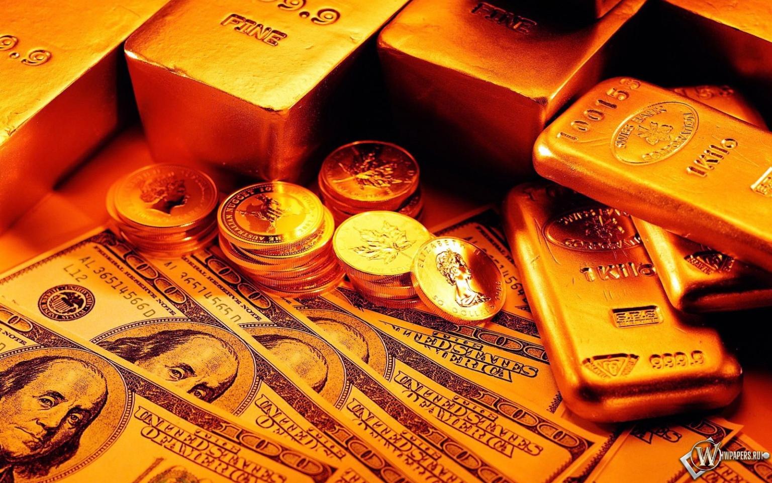 Обои слитки монеты и бумажные деньги