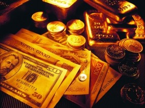 Обои Разные деньги: Золотые слитки, Банкноты, Купюры, Золото, Слитки золота, Деньги, Валюта, Деньги