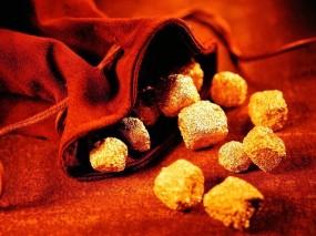 Обои Золотые самородки: Золото, Кусочки, Комочки, Мешочек, Мешок, Деньги