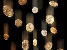 Обои Дождь из монет: Металл, Дождь, Богатство, Деньги, Чёрный фон, Железо, Монеты, Деньги