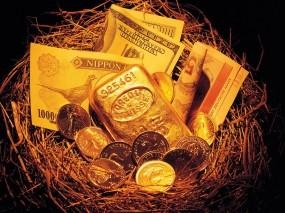 Обои Гнездо с деньгами: Банкноты, Купюры, Золото, Слитки золота, Гнездо, Деньги, Валюта, Банкнота, Слитки, Деньги