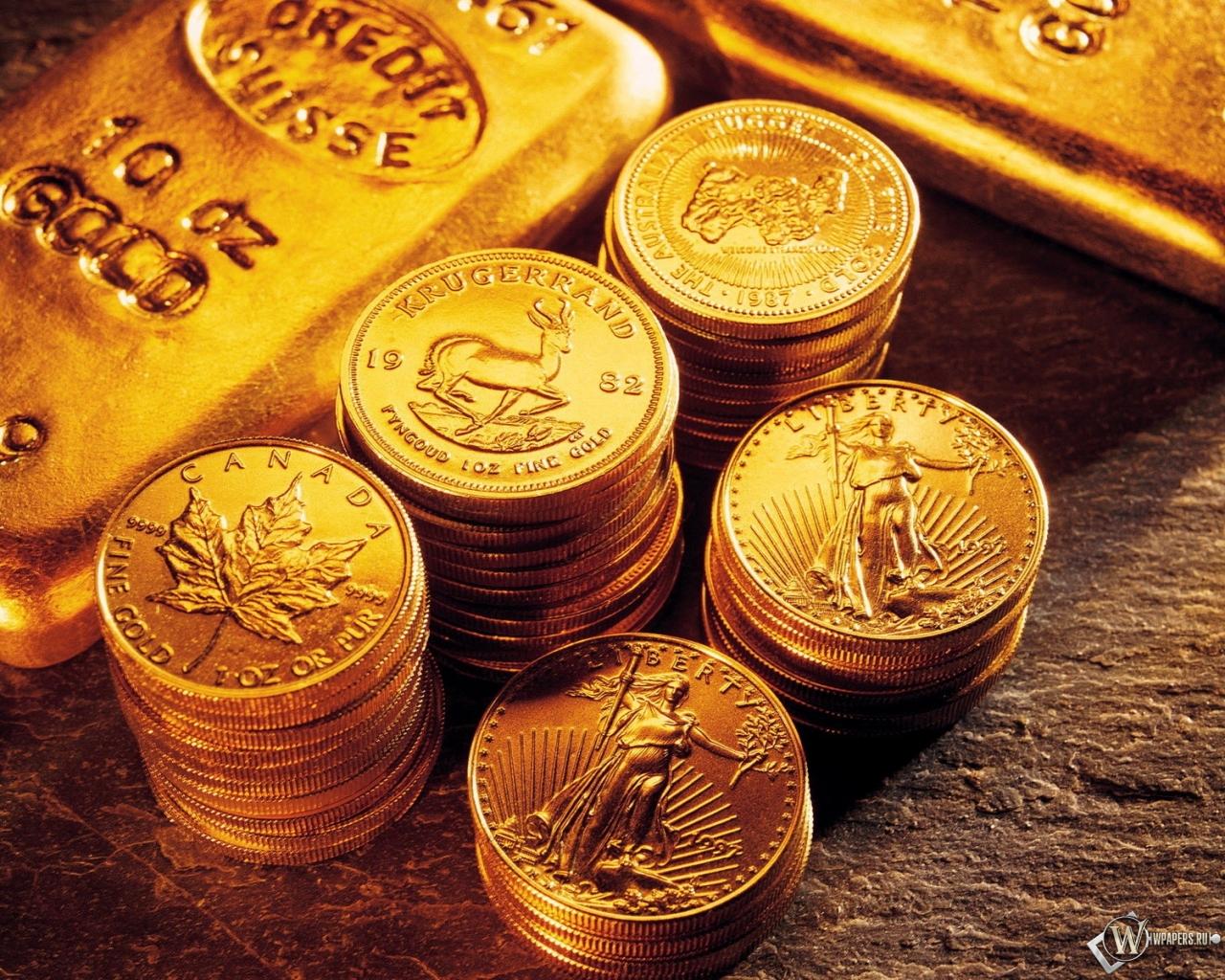 Деньги железо монеты слитки 1280x1024