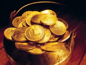 Обои Горшочек с золотом: Металл, Богатство, Золото, Деньги, Железо, Монеты, Деньги