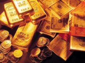 Обои Богатство: Банкноты, Купюры, Золото, Слитки золота, Деньги, Валюта, Банкнота, Слитки, Золотой слиток, Деньги