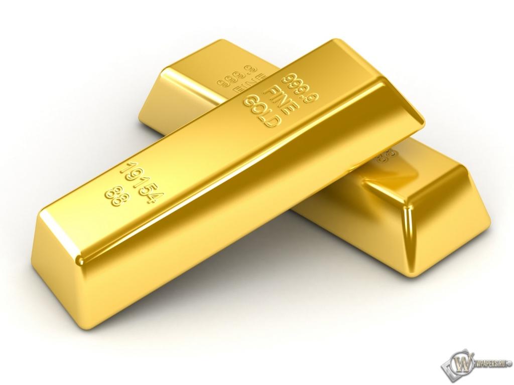 Слитка золота на белом фоне 1024x768