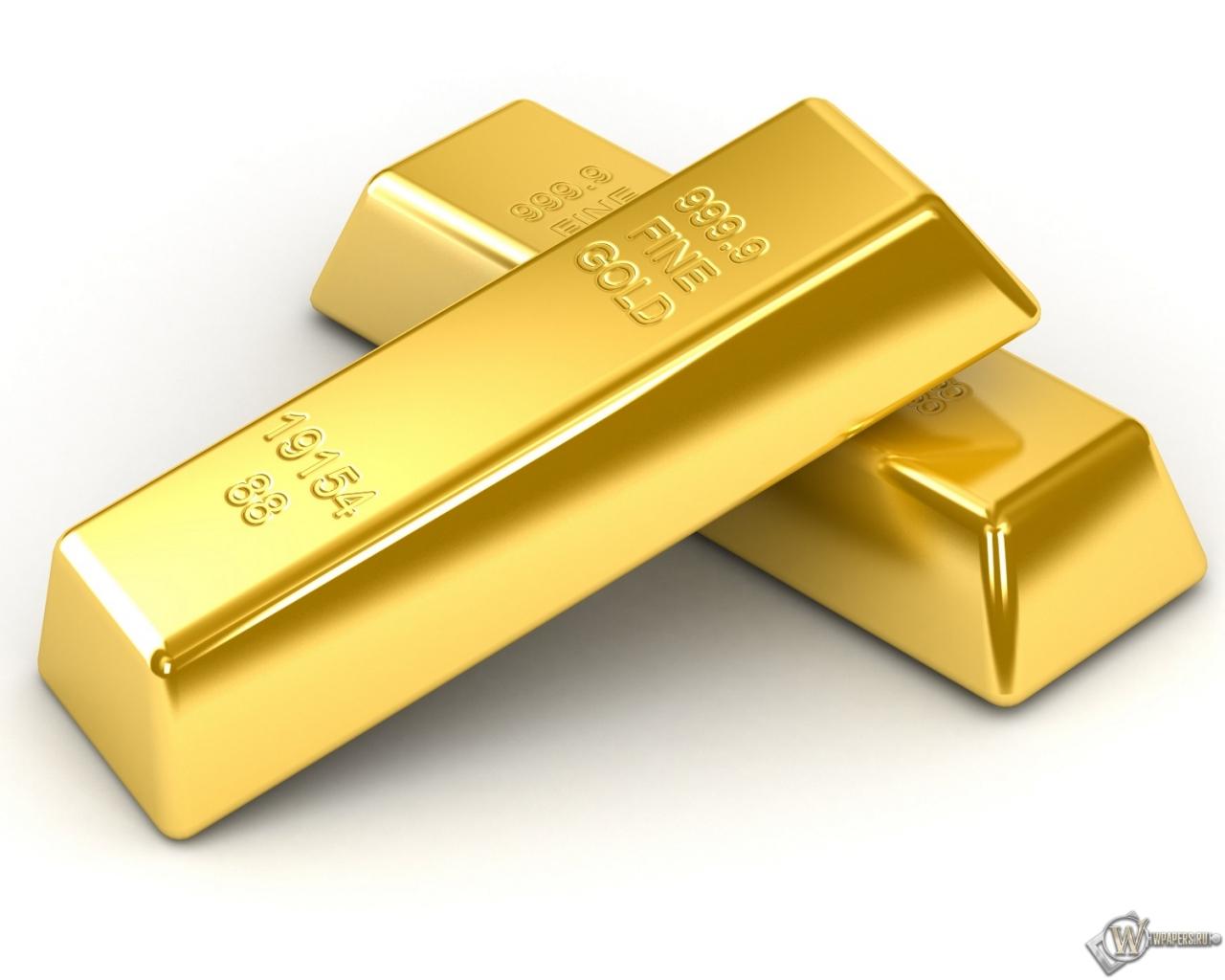 Обои 2 слитка золота на белом фоне на