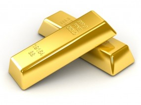 2 слитка золота на белом фоне