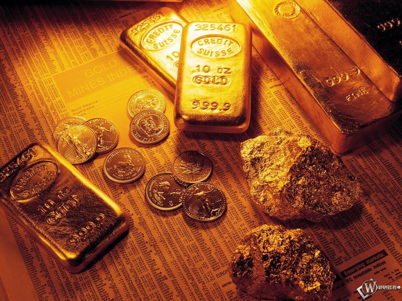 Обои для рабочего стола слитки золота