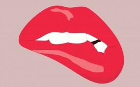 Обои Прикушенные губы: Губы, Минимализм, Зубы, Настроения