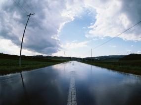 Обои Дорога после дождя: Дорога, После дождя, Столб, Настроения