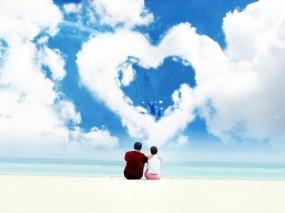 Обои любовь: Облака, Любовь, Сердце, Пара, Настроения
