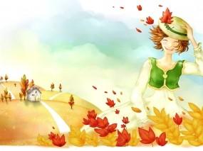 Обои Осенняя девушка: Девушка, Ветер, Осень, Рисунок, Листья, Настроения