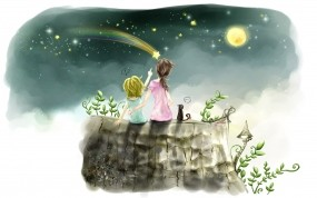 Обои Любовь к жизни: Картина, Звезда, Девочка, Мальчик, Двое, Настроения
